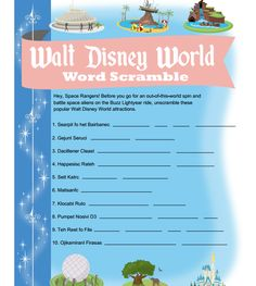 PDF of a WDW word scramble - great for keeping kids busy en route to Disney World