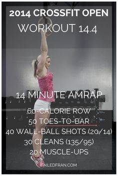 The 2014 Reebok CrossFit Games Open Wod 14.4 - Calorie Row, Toes-To-Bar, Wall Balls, Cleans, and Muscle Ups Workout - ifailedfran.com