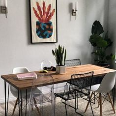 Cameron Worboys added a photo of their purchase Metal Dining Table, Extendable Dining Table, Wood And Metal, Solid Wood, Beautiful Dining Rooms, Farmhouse Table, Sweet Home, Rustic, Contemporary
