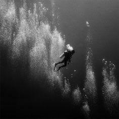 scuba diver - Surreal Monochrome Images Shot Beneath the Sea