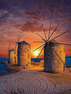 Sunset.. and Windmills in Chora, Chios Island, Greece | by kyrenian