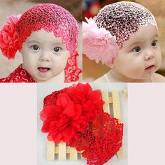 2016 Baby Girls Hairnet Toddlers Newborn Photography Props Kids Infant Lace Flower Bebe Headband Hairband Hair Accessories