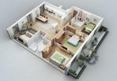 denah rumah ukuran 9x10 yang modern