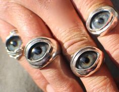 Sterling Silver, Handmade, Prosthetic Glass Eyelid Ring, size 17. One only in this size and ready to ship. Alternate pictures shown, are pieces