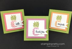 Pop of Paradise and Thoughtful Banners stamp set mini cards created by Mary Fish, Stampin' Up! Demonstrator.  1000+ StampinUp & SUO card ideas.  Read more http://stampinpretty.com/2016/05/stampin-up-pineapple-mini-cards.html