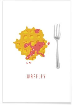 Waffle illustration for wall art. Waffley Art Print by STRYHN&TORM now on Juniqe.com | Art. Everywhere.