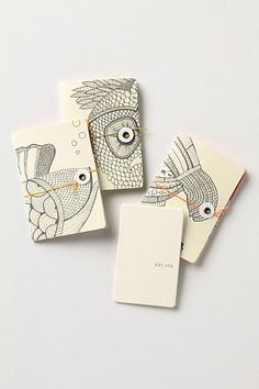 "Anthropologie Gift Card and critter-covered Likes & Loves mini-journals gift card holders | absolutely love the string and button ""eye"" on the animals"