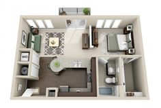 This is pretty awesome. Like the island table end... plan-3D-appartement-1-chambre-40