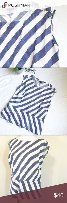 "Talbots Blue White Stripes Sleeveless Blouse Talbots blue and white Sleeveless blouse. Quality linen. Materials 100% Linen.    Size 12WP   Measurements (laid flat) Armpit to armpit 23""  Waist 22"" Length 24""    Condition New with tags. No flaws noted. Talbots Tops Blouses"