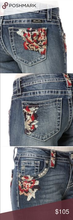 """BUNDLED! 🌹Festival Ready Embroidered Miss Me Add a pop of color to your denim wardrobe with these Miss Me Multi-Colored Floral Skinny Jeans. Floral embroidery accents with rhinestone detailing can be found on the back and front pockets and on a few belt loops. Whether you choose to dress up or wear these jeans casually, you will love all the compliments you get when you wear them. Rise 8"""" Inseam 31"""" Miss Me Jeans Skinny"""