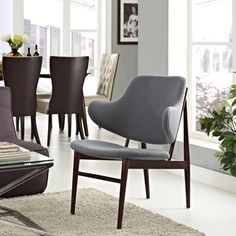 Cherish Wood and Dark Grey Upholstery Lounge Chair | Overstock.com Shopping - Great Deals on Modway Dining Chairs