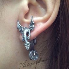 Cool Dragon With Wings Puncture EAR Stud Womens Mens Unisex Earring | eBay -a little less obvious than the one that wraps around your ear