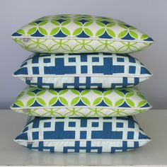 Teal & citrus cushions - My favorites from the Tu Textiles line out of beijing!