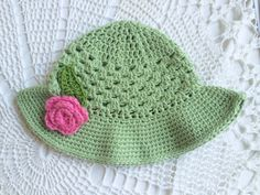 Crochet Summer hat with rose. Baby.