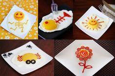 Idéias divertidas de apresentar um ovo frito ou pochê para os pequenos :)