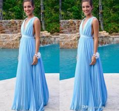 b81b345a987 Sky Blue Bridesmaids Dresses Cheap 2019 Deep V Neck Pleats Long Prom Dress  A Line Wedding Guest Evening Party Gowns Custom Made