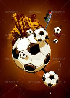Buy Abstract Image of Soccer Balls by Vecster on GraphicRiver. Abstract image of soccer balls and urban elements on dirty brown background. Funky style with graffiti elements. Soccer Art, Play Soccer, Abstract Images, Abstract Art, Street Football, Funky Style, Best Football Players, Football Wallpaper, Funky Fashion
