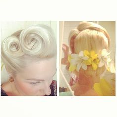 Miss Rainbow- victory rolls and low barrel role. 1950's vintage hair inspiration