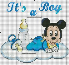 baby topolino schema punto croce Cross Stitch Baby, Cross Stitch Charts, Cross Stitch Patterns, Baby Mickey, Miki Mouse, Mickey Mouse Characters, Baby Canvas, Graph Paper Art, Pooh Bear