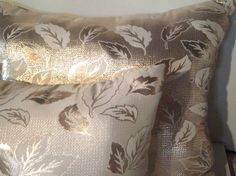 Gold Leaf Pillows Set of 2 Elegant Gold Lame by CarriesCraftStore, $55.00