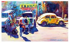 "Yellow beetle by Graham Berry Watercolor ~ 11"" x 18"""
