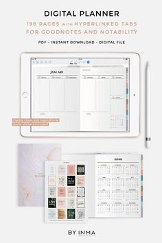 Planner Organization Tabs - Digital planner Goodnotes iPad Pro 2019 dated weekly planner with hyperlinks tabs Digital stickers and marble cover included PDF file... #PlannerOrganization #Tabs