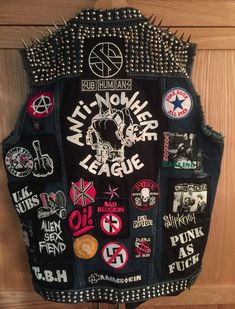 Punk Patches, Pin And Patches, Diy Patches, Battle Jacket, Combat Jacket, Vest Jacket, Hard Rock, Death By Glamour, Punk Mode