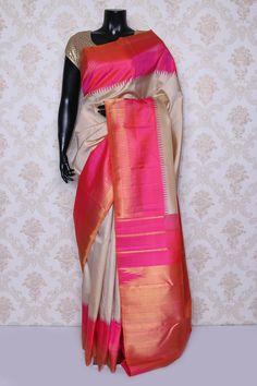 Gorgeous #beige pure #kanchipuram silk zari weaved #saree -SR14068
