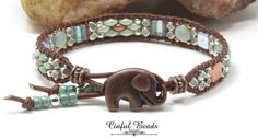 Beaded Leather Bracelet For Women - Green, Copper, and Silver Leather Wrap Bracelet With Copper Elephant Button - by CinfulBeadCreations on Etsy Yoga Jewelry, Glass Jewelry, Beaded Jewelry, Unique Jewelry, Leather Braces, Brown Leather, Green Copper, Chanel Jewelry, Semi Precious Beads