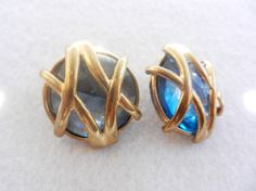 Vintage 1960 Italian - earrings button Jewel -large cabochon periwinkle blue and gold-Art.344 -