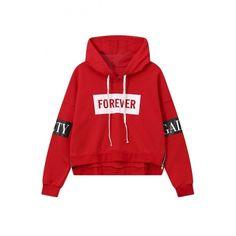 Trendy Hooded Letter Print Zipper Side High Low Trim Elastic Cuffs... ($33) ❤ liked on Polyvore featuring tops, hoodies, long hoodie, zip hooded sweatshirt, hooded pullover, red hoodie and long zip hoodie