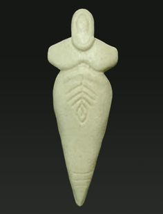 Moon-Seed Goddess This small Neolithic goddess figure was carved from bone in northern Ital, about 7000 years ago. She wears the shape of the crescent moon as a necklace, and her fertile body is decorated with a seed and a growing plant or tree. Her short arms may be bent at the elbow, or may represent folded wings. Measures 4.5 inches tall via > goddessmandala.com Ancient Goddesses, Gods And Goddesses, Arte Tribal, Historical Artifacts, Ancient Artifacts, Sacred Feminine, Divine Feminine, Mother Goddess, Venus