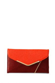 Valentine's Day outfit idea (or a good gift for him to get YOU!!) - Enveloped Two Tone Clutch - $34.00