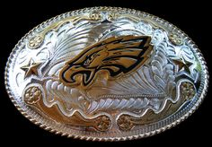 Big Western Cowboy Rodeo Silver Large Eagle Belt Buckle