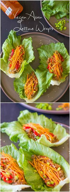 Vegan Asian Lettuce Wraps with Sweet Sriracha Sauce are quick, easy, healthy, delicious and made with an incredible unique filling! Not raw-vegan because it have peanuts Raw Vegan Recipes, Vegan Foods, Vegan Dishes, Veggie Recipes, Asian Recipes, Whole Food Recipes, Vegetarian Recipes, Healthy Recipes, Vegan Vegetarian