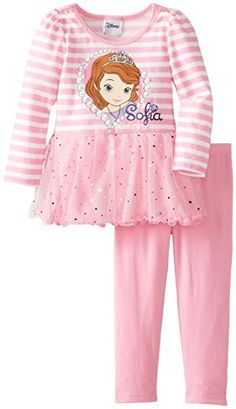 Disney Little Girls' Sofia 2 Piece Stripe Long Sleeve Legging Set, Berry Modesty, 4T - Click image twice for more info - See a larger selection of  girls dresses with legging sets at  http://girlsdressgallery.com/product-category/girls-dress-with-legging-sets/ - kids, little girls, little girls fashion, toddler, little girls casual clothes, kids dresses, kids play wear dresses, kids casual wear, everyday dresses