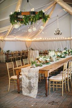 Wedding Reception Food Rustic, greenery wedding reception decor - long, wooden table with lace table runner and greenery chandelier {Gather Together} - Lace Wedding Decorations, 50th Wedding Anniversary Decorations, Wedding Ideas, Rustic Party Decorations, Wedding Flowers, Wedding Greenery, Rustic Wedding Reception, Wedding Chairs, Classy Backyard Wedding