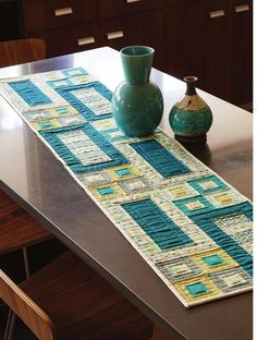 Modern table runner in cool, beach colors.