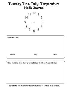 Tuesday, Time, Tally, Temperature, Math Journal Template