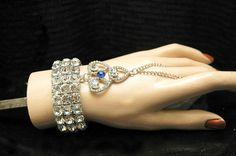 Bridal Bracelet, Great Gatsby Bracelet,1920s Slave Bracelet,Art Deco Crystal Cuff Wedding Bracelet, Ring Bracelet by AyansiWeddingDesigns on Etsy