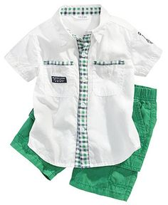 Baby Boys Short-Sleeved Shirt and Pull-On Shorts Boys Clothes Style, Sewing Kids Clothes, Trendy Baby Clothes, Boys Style, Boys Summer Outfits, Baby Boy Outfits, Kids Outfits, Baby Boy Dress, Baby Girl Dress Patterns