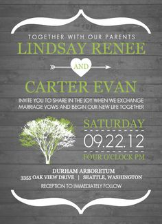 Rustic Green and White Tree Wedding Invitation