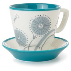 Dandelion Floral Teacup and Saucer Set, , large