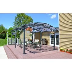 Features:  -Multi-purpose as a carport or a patio cover.  -6 mm virtually unbreakable polycarbonate panels block up to 99.9% harmful UV radiation that won't yellow or become brittle over time and allo