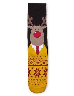 Cotton Rich Reindeer Slipper Socks | M&S