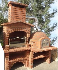 BBQ and ovens-Mediterranean Brick Barbecue Outdoor Barbeque, Pizza Oven Outdoor, Wood Fired Oven, Wood Fired Pizza, Barbecue Four A Pizza, Barbecue Pit, Outdoor Firewood Rack, Built In Braai, Barbecue Garden