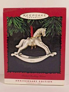 Hallmark Pewter Rocking Horse Christmas Ornament Anniversary Edition 1995 Boxed