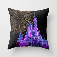 Disney Magic Kingdom Fireworks at Christmas - Cinderella Castle Throw Pillow by Hub Photos - $20.00