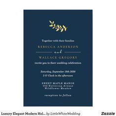 Luxury Elegant Modern Holiday Gold Navy Holly Leaf Invitation Luxury Wedding Invitations, Custom Invitations, Party Invitations, Wedding Stationery Inspiration, Holly Leaf, Christmas Wedding, Celebrity Weddings, Paper Design, Navy