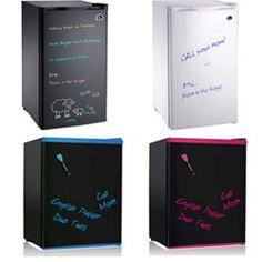 4 dry-erase compact refrigerators #dryerasefridge #chalkboardfridge